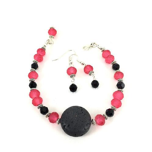 Cherry Red Lava Bracelet Set