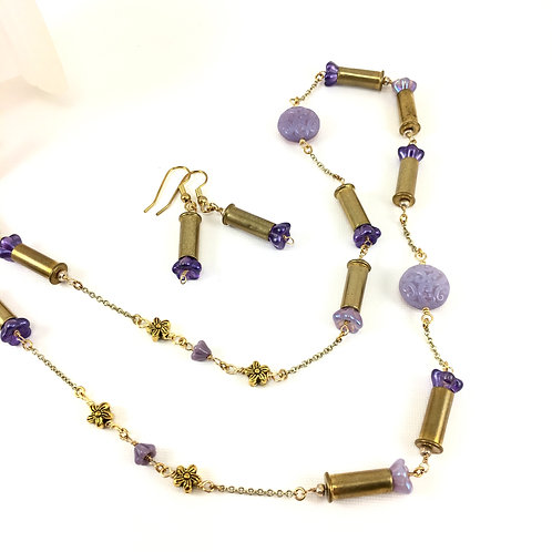 Flower 'n Bullet Shell Long Necklace Set