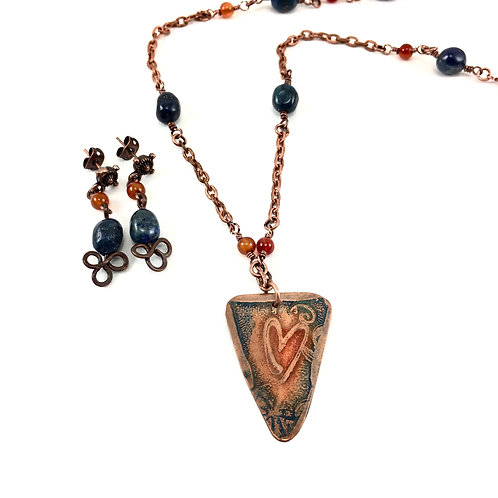 Weathered Heart Necklace Set