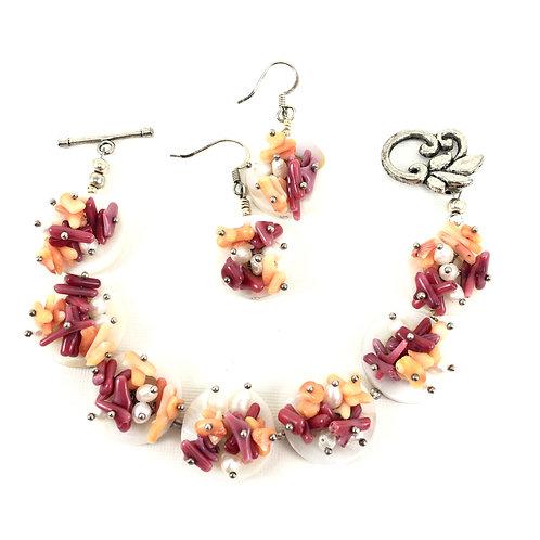 Coral Blossom Bracelet Set