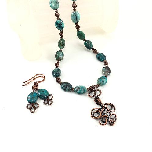 Turquoise Lace Necklace Set