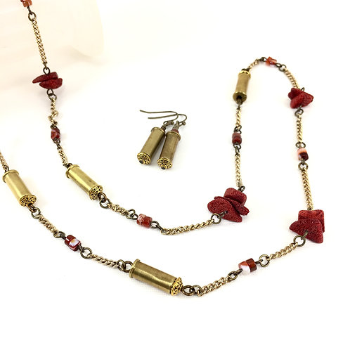 Coral 'n Bullet Shell Long Necklace Set