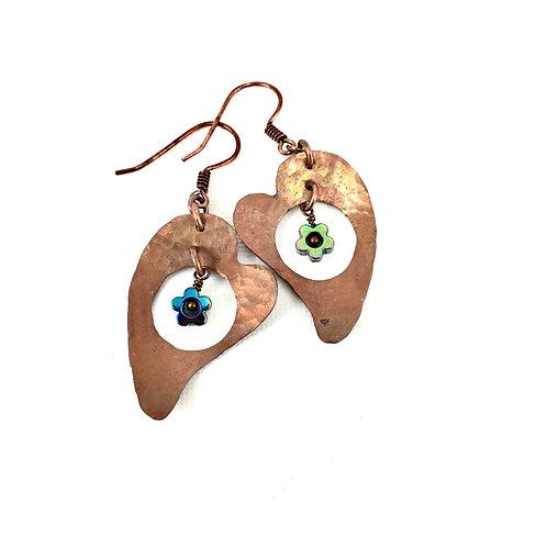 Dancing Hearts Copper Earrings