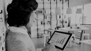 Woman checking data