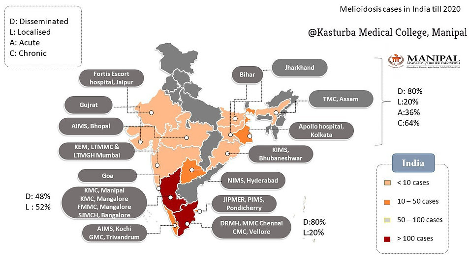 Melioidosis cases map, KMC, Manipal