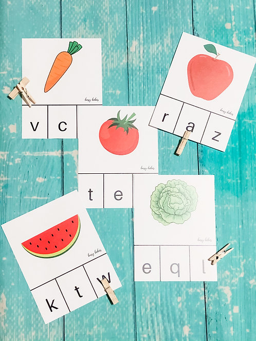 Initial Letter Plant Cards + Clothespins