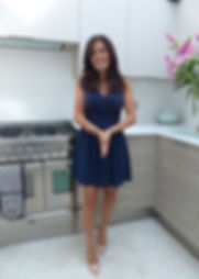 Denise Kelly In Kitchen With Blue Dress.