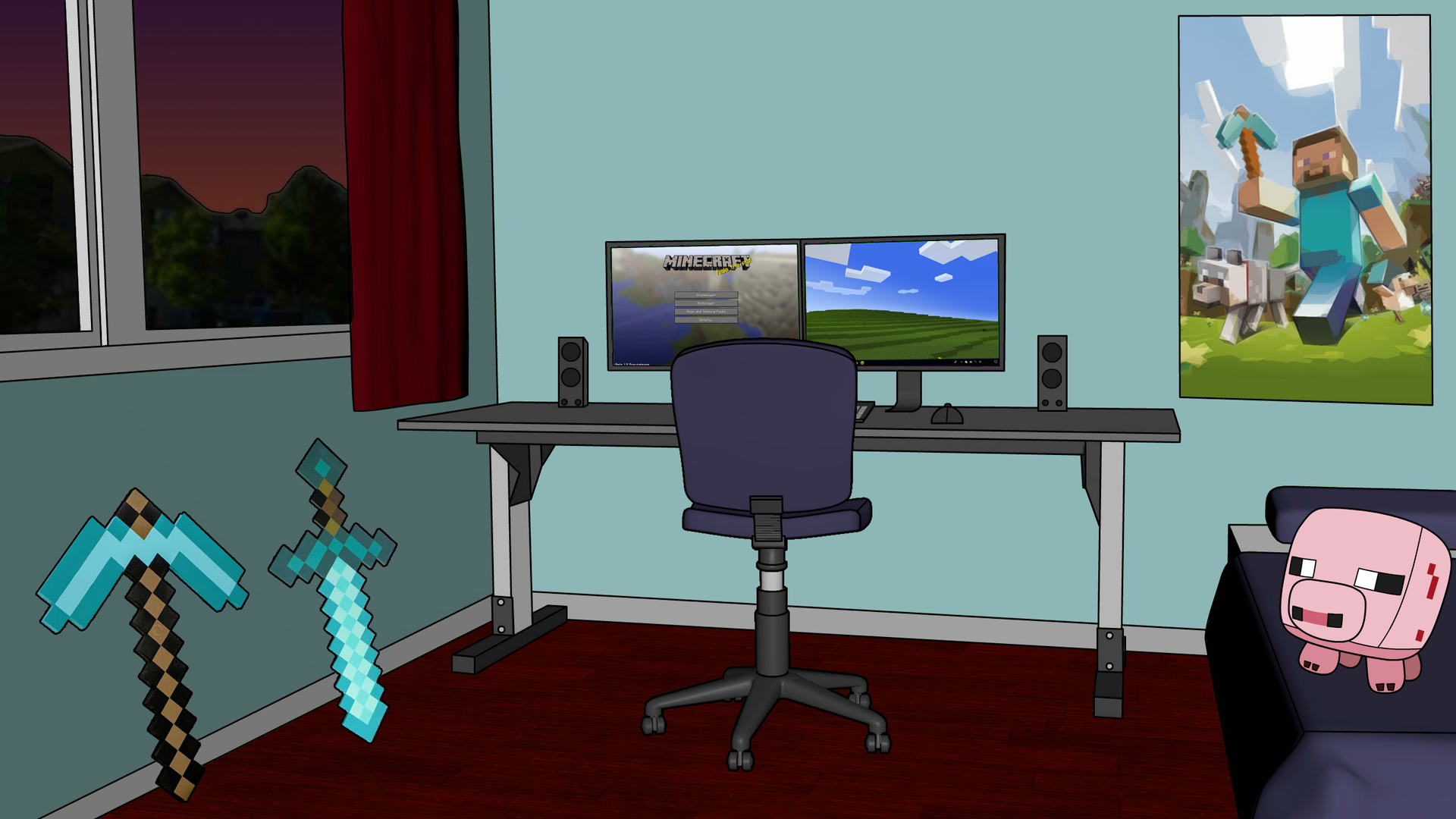 5 Minecraft Bedroom Background.png