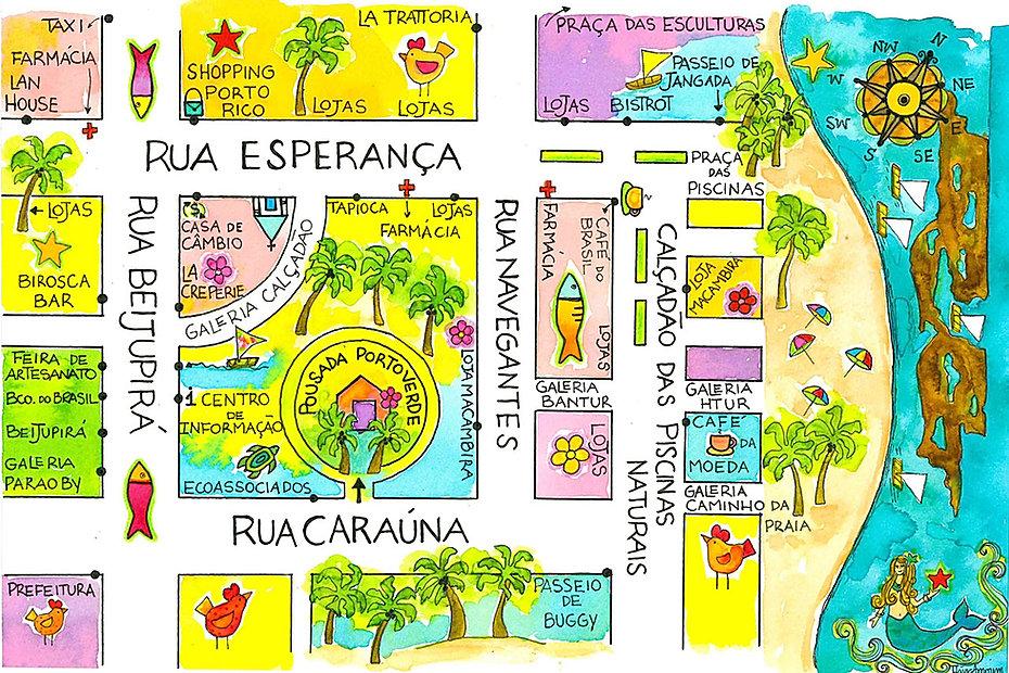 Mapa de Porto de Galinhas | Pousada Porto Verde