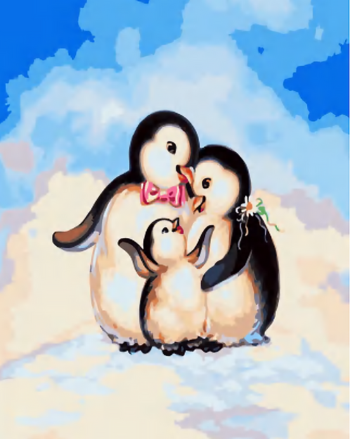 Cute Penguin Family - 2/5 Complexity