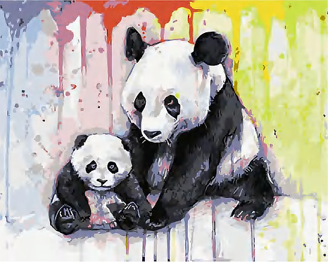 Watercolour Panda and Cub - 4/5 Complexity
