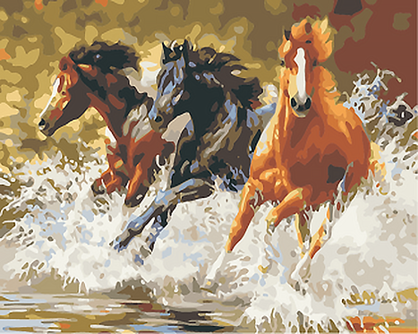 Three Horses Galloping in Water - 4/5 Complexity