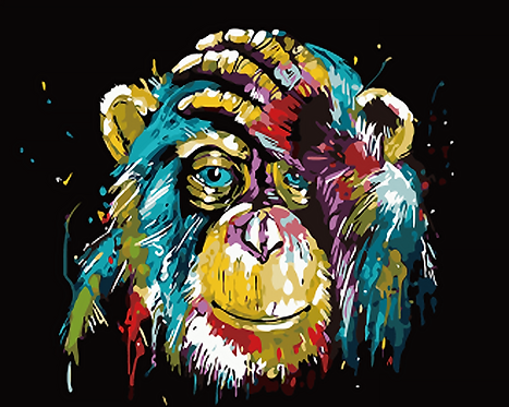 Colourful Abstract Chimp - 3.5/5 Complexity