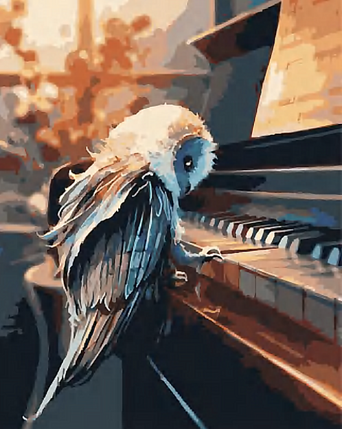 Owl Playing Piano - 3/5 Complexity