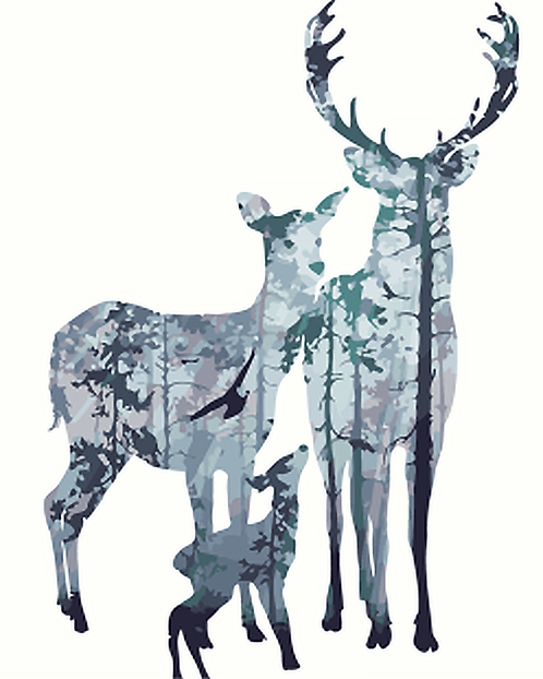 Deer Family Abstract Forest - 2.5/5 Complexity
