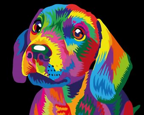 Colourful Abstract Dog - 1.5/5 Complexity