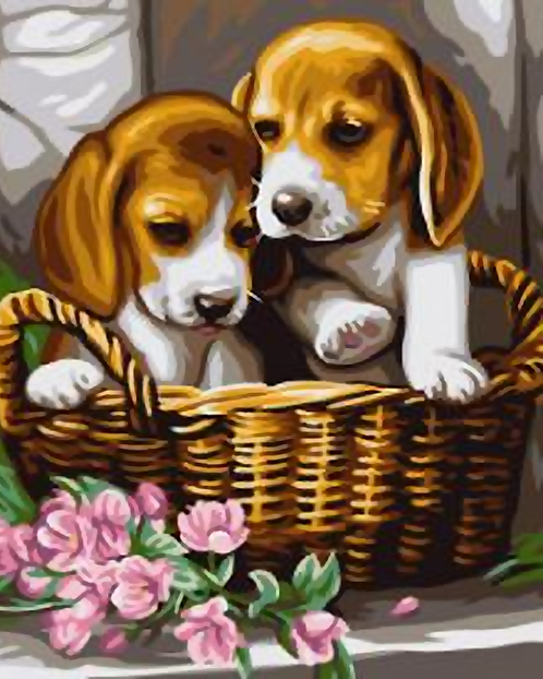 Cute Puppies in a Basket - 3/5 Complexity