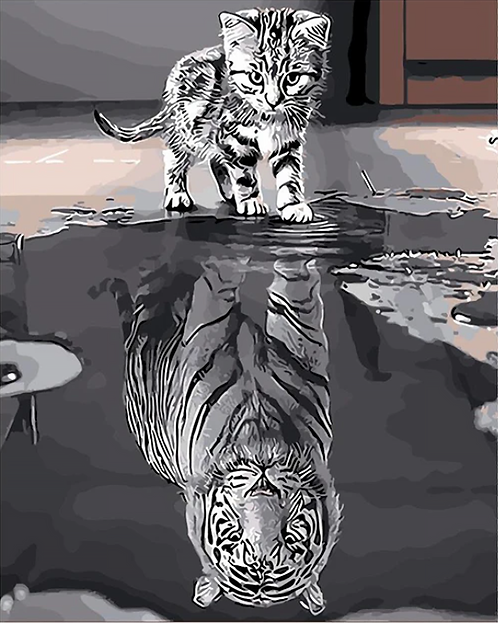 Kitten With Tiger Reflection - 3/5 Complexity