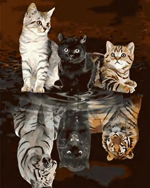 Kittens and Wild Cat Reflection - 3.5/5 Complexity