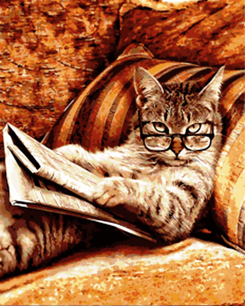 Funny Cat Reading the Newspaper - 5/5 Complexity