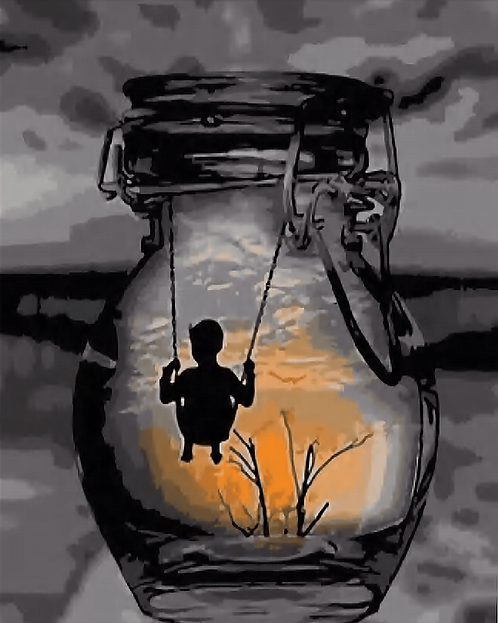 Abstract Boy Swinging in Jar - 3.5/5 Complexity