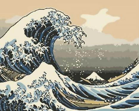 The Great Wave of Kanagawa, Hokusai Ukiyo-e Furoshiki - 2/5 Complexity
