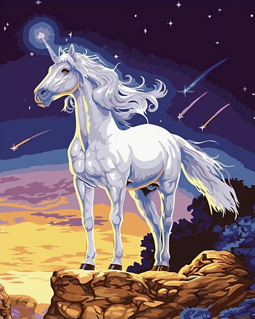 Unicorn on Cliff with Shooting Stars - 3/5 Complexity