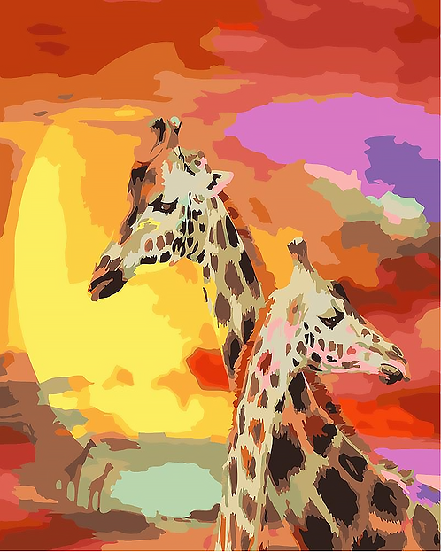 Colourful Giraffe Couple - 1.5/5 Complexity