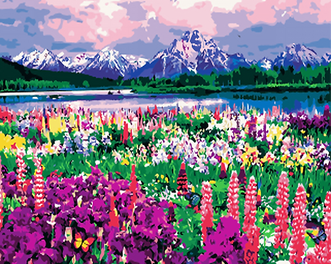 Flowers with Mountain Landscape - 5/5 Complexity