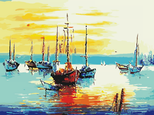 Boats in Bay at Sunset - 4.5/5 Complexity