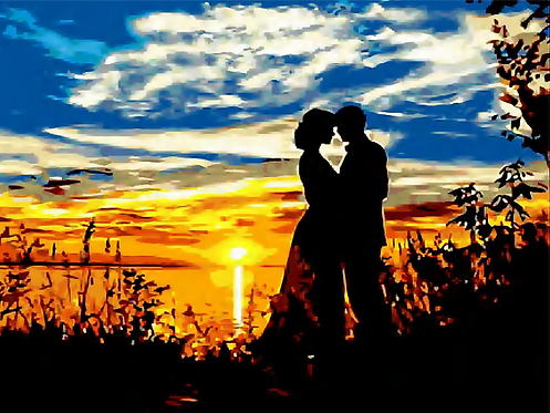 Couple Silhouette in Sunset - 2.5/5 Complexity