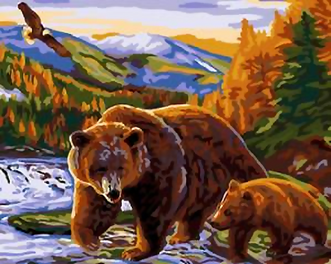 Bear and Cub in Wilderness - 4/5 Complexity
