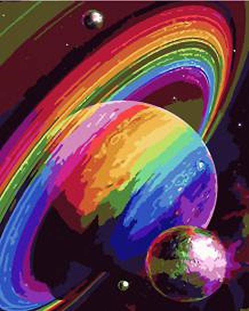 Colourful Planets in Space - 2/5 Complexity