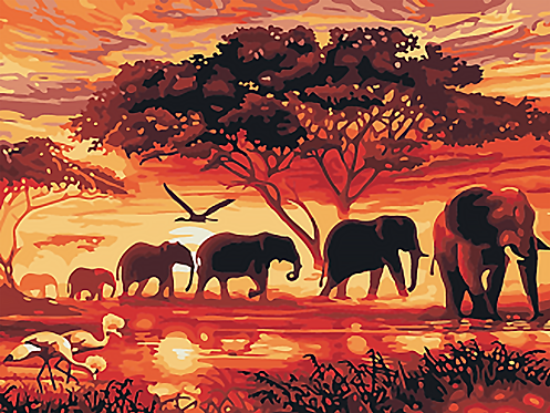 Five Elephants Walking in Savannah Sunset - 3.5/5 Complexity