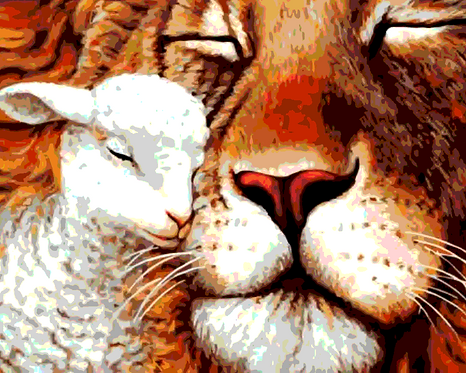 Lion and Lamb Cuddling - 4/5 Complexity