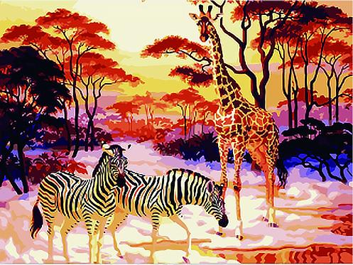 Giraffe and Zebras in Savannah - 4.5/5 Complexity