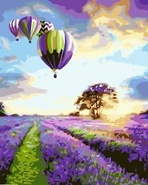 Hot Air Balloons and Flowers Landscape - 3.5/5 Complexity
