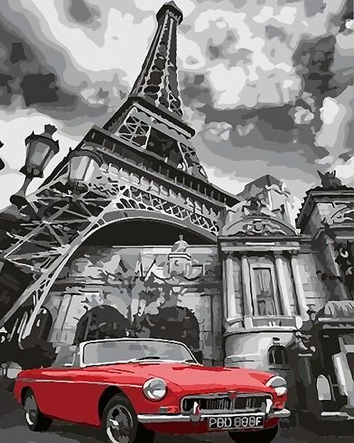 Car in front of Eiffel Tower in Paris - 3.5/5 Complexity