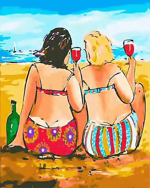 Two Ladies at the Beach - 3/5 Complexity