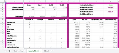 DeeCluttered Paycheck Planner Tool