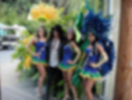 Samba dancers Val, Ana and Camila with Slash (Guns n' Roses) at Los Angeles Zoo