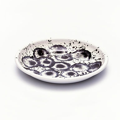 Floral Madness Black Big Plate