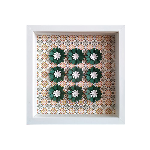 3D Framed Handmade Paper Green Flowers