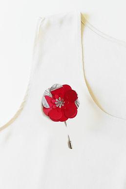 RED Handmade Origami Flower Brooch