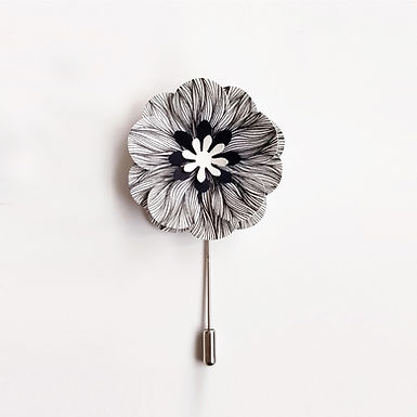 BLACK AND WHITE Handmade Origami Flower Brooch