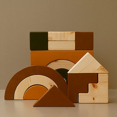 GAME Colored Wooden Blocks (15 Pieces)