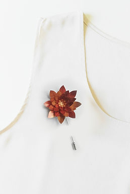 COPPER Handmade Origami Flower Brooch