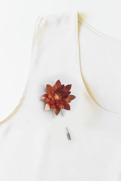 COPPER Handmade Origami Flower Brooch