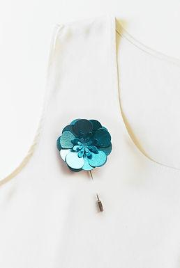BLUE Handmade Origami Flower Brooch