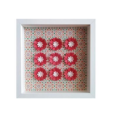 3D Framed Handmade Paper Red Flowers